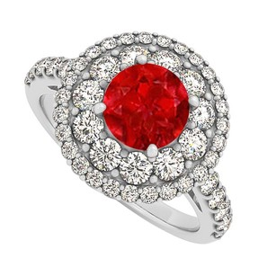 LoveBrightJewelry Ruby Cz Double Halo Engagement Ring In Sterling Silver