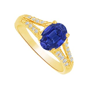 LoveBrightJewelry Sapphire And Cz Split Shank Ring In 14k Yellow Gold