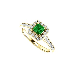 LoveBrightJewelry 1 Ct Channel Set Cz Accented Emerald Halo Ring 14k Gold