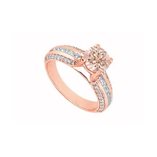LoveBrightJewelry Morganite And Three Rows Of Cubic Zirconia In 14k Rose Gold