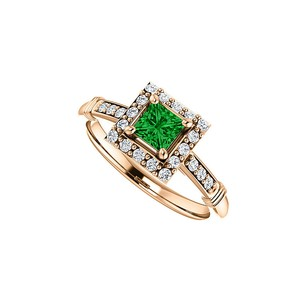 LoveBrightJewelry .75 Ct Tw Cz Accented Square Emerald Ring 14k Rose Gold