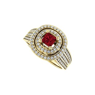 LoveBrightJewelry 1.00 Ct Tw Ruby Double Halo Three Rows Cz Ring Vermeil