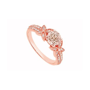 LoveBrightJewelry Morganite And April Birthstone Cubic Zirconia Butterfly Engagement