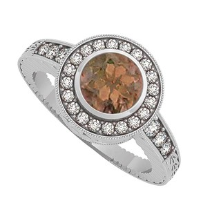 LoveBrightJewelry Smoky Quartz And Cz Engagement Ring In Sterling Silver