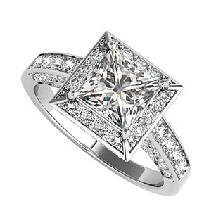 LoveBrightJewelry Cz Square Halo Engagement Ring In 925 Sterling Silver