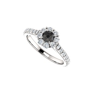 LoveBrightJewelry 1.00 Carat Black Onyx And Cz Halo Engagement Ring