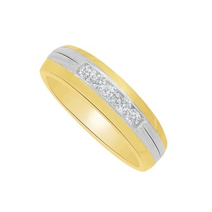 LoveBrightJewelry Channel Set Diamond Five Stone Men Ring Two Tone Gold