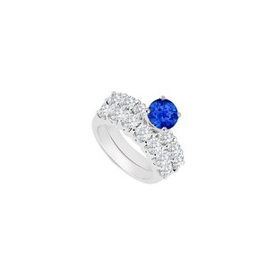 LoveBrightJewelry 14k White Gold Sapphire And Diamond Engagement Ring With Wedding Band
