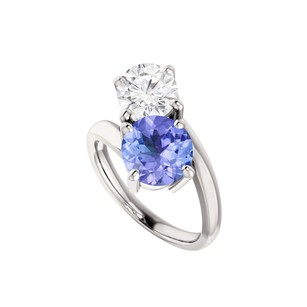 LoveBrightJewelry Two Stone Cz Tanzanite Engagement Ring Sterling Silver