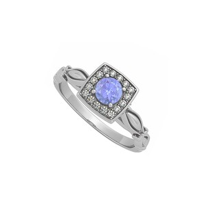LoveBrightJewelry Tanzanite And Cubic Zirconia Ring In Sterling Silver