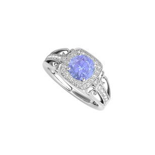 LoveBrightJewelry Tanzanite And Cz Filigree Ring In 925 Sterling Silver