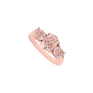 LoveBrightJewelry Three Stone Morganite Rose Gold Vermeil Engagement Ring