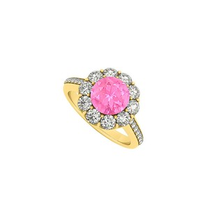 LoveBrightJewelry Yellow Gold Vermeil September Birthstone Pink Sapphire And Cubic Zirco
