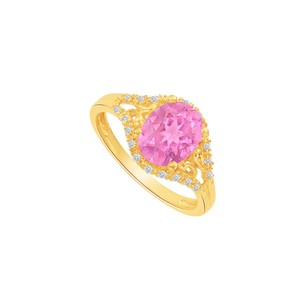 LoveBrightJewelry Yellow Gold Vermeil Split Shank Ring Cz Pink Sapphire