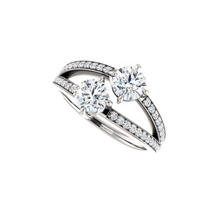 LoveBrightJewelry Cz Two Stone Split Shank Ring In 925 Sterling Silver