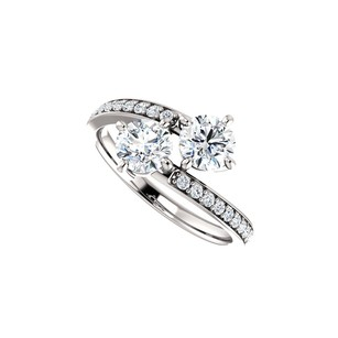 LoveBrightJewelry Super Stylish Cz Two Stone Ring In 925 Sterling Silver