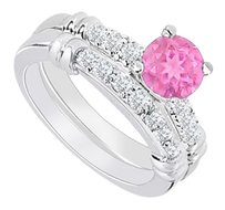 LoveBrightJewelry 925 Sterling Silver Created Pink Sapphire and Cubic Zirconia Engagement Ring with Wedding Band Set