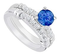 LoveBrightJewelry 925 Sterling Silver Created Sapphire and Cubic Zirconia Engagement Ring with Wedding Band Set