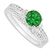 LoveBrightJewelry 925 Sterling Silver Frosted Emerald Engagement Ring with CZ Wedding Band Sets 1.00 CT TGW