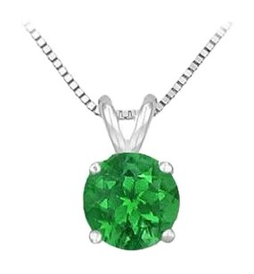 LoveBrightJewelry 925 Sterling Silver Prong Set Created Emerald Solitaire Pendant 1.00 CT TGW