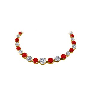 LoveBrightJewelry Alternate CZ Ruby Graduated Necklace 14K Yellow Gold