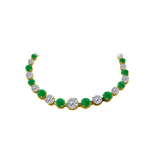 LoveBrightJewelry Alternate Emerald CZ Graduated Necklace 14K Yellow Gold