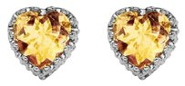 LoveBrightJewelry Amazing Citrine Heart Shape Stud Earrings in Silver