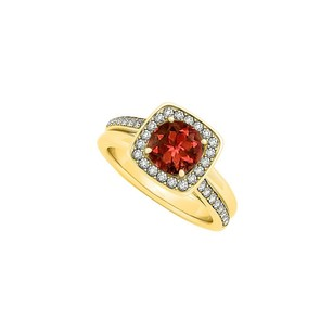 LoveBrightJewelry Amazing Garnet and CZ Ring in 18K Yellow Gold Vermeil