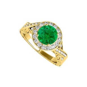 LoveBrightJewelry Amazing Gift Emerald Cubic Zirconia Twisted Shank Ring In 18k Yellow Gold Vermeil Amazing Price