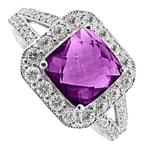 LoveBrightJewelry Amethyst and Cubic Zirconia Ring in Sterling Silver