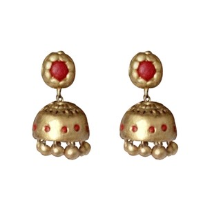 LoveBrightJewelry Antique Gold and Red Tone Silver Stud Drop Earrings
