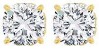 LoveBrightJewelry Antique Square 4 Prong 14K Yellow Gold Earrings with CZ