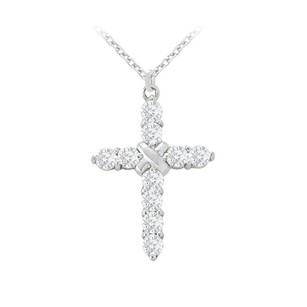 LoveBrightJewelry April Birthstone Cubic Zirconia Cross Pendant In 925 Sterling Silver 1.00 Ct Tgw