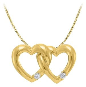LoveBrightJewelry April Birthstone Cubic Zirconia Double Hearts Pendant in Yellow Gold Vermeil with Free Chain