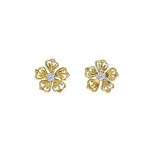 LoveBrightJewelry April Birthstone Swarovski Floral Earrings In 14k Yellow Gold 1/4 Ct Tgw