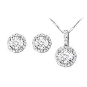 LoveBrightJewelry April Birthstone Cubic Zirconia Halo Earrings And Pendant In 14k White Gold