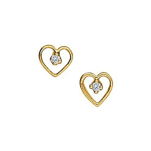 LoveBrightJewelry April Birthstone Cubic Zirconia Heart Earrings With Cz In 14k Yellow Gold