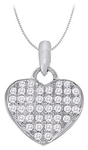 LoveBrightJewelry April birthstone Cubic Zirconia Heart Pendant in Sterling Silver 0.20 CT TGW,Valentine Day Gift