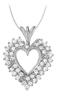 LoveBrightJewelry April birthstone Cubic Zirconia Heart Pendant in Sterling Silver 1.00 CT TGW