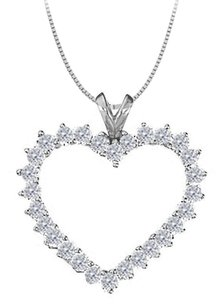 LoveBrightJewelry April birthstone Cubic Zirconia Heart Pendant in Sterling Silver 2.00 CT TGW
