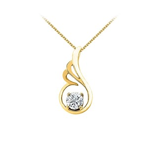 LoveBrightJewelry April Birthstone Cubic Zirconia Pendant In 18k Yellow Gold Vermeil With Free Chain Best Price
