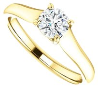 LoveBrightJewelry April Birthstone Cubic Zirconia Solitaire Engagement Rings in 18K Yellow Gold Vermeil 0.50 CT TG