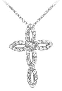 LoveBrightJewelry April Birthstone Cubic Zirconia Twisted Cross Pendant in 925 Sterling Silver