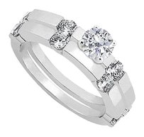 LoveBrightJewelry April Birthstone CZ Engagement Ring with Wedding Band Set Sterling Silver 1.30 CT TGW