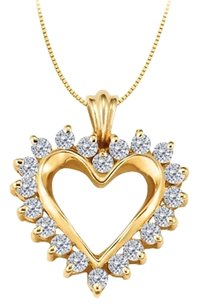 LoveBrightJewelry April birthstone CZ Heart Pendant Sterling Silver with Yellow Gold Vermeil 0.50 CT TGW