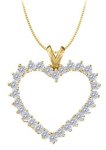 LoveBrightJewelry April birthstone CZ Heart Pendant Sterling Silver with Yellow Gold Vermeil 2.00 CT TGW