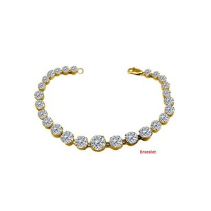 LoveBrightJewelry April Birthstone Prong Set Cubic Zirconia Bracelet 18kt Yellow Gold