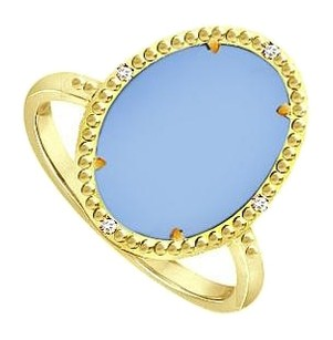LoveBrightJewelry Aqua Chalcedony and Cubic Zirconia Ring in 18K Yellow Gold Overlay Sterling Silver 15.08 CT TGW
