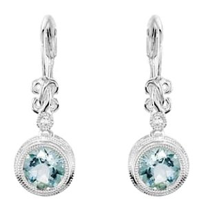 LoveBrightJewelry Aquamarine and Diamond Earrings in 925 Sterling Silver