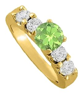 LoveBrightJewelry August Birthstone Peridot and CZ Elegant Engagement Ring in Yellow Gold Vermeil Best Design
